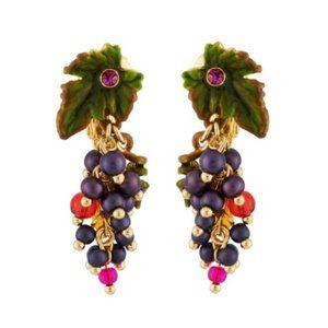 Les Nereides Purple Grape & Leaf Clip On Earring